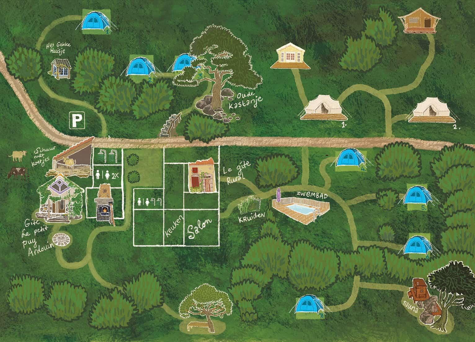 Getekende 3d overzichtskaart van het terrein.