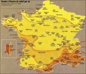 Zonurenkaart van Frankrijk. In het gebied rond Le Puy Ardouin is een eilandje met veel zonuren, net zoveel als rond de Middelandse zee.